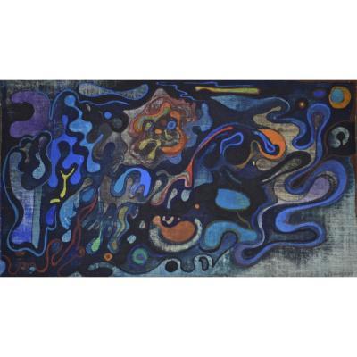 """Claude Lagouche 1943-2020. """"Composition abstraite."""""""