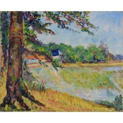 """Antoine Ferracci 1890-1984. """"Paysage fauve."""""""