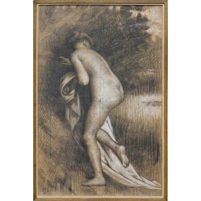 """Émile Thivier 1858-1922. """"Nue dans un paysage."""""""