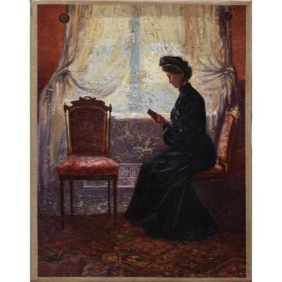 """Jacques Doré 1861-1929. Attribué. à. École Belge. """"Femme à sa lecture."""""""