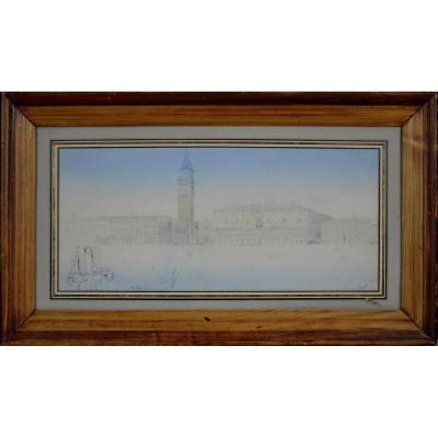 """Edward Hereford 19/20ᵉ Siècle. École Anglaise. """"Le Palais des Doges à Venise."""""""