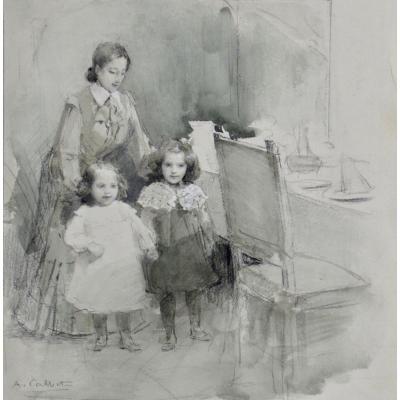 """Antoine Calbet 1860-1944. """"Petites filles et leur gouvernante."""""""