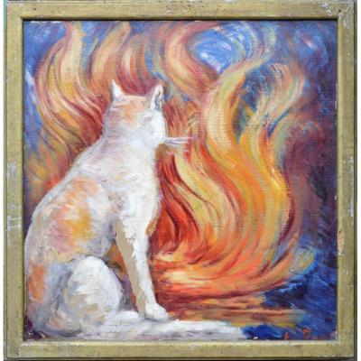 """Émile Roy 1876-1973.  """"Le chat devant l'âtre."""""""