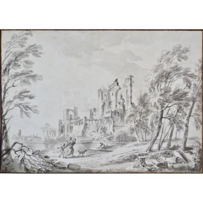 """Jean-Baptiste Lallemand 1716-1803. """"Paysage animé avec ruines."""""""