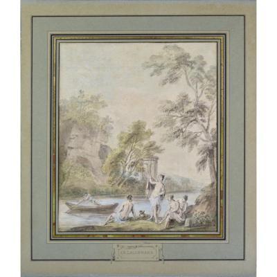 """Jean-Baptiste Lallemand 1716-1803. """"Baigneuses au bord d'une rivière."""""""