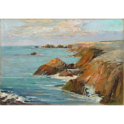 """Maurice F. Perrot 1892-1935. """"Bord de mer en Bretagne."""""""