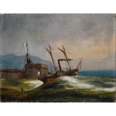 Steamboat Leaving A Harbor. 19th Century French School.