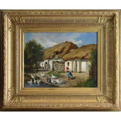 "Leopold Munsch 1826-1888. Austrian School. ""farmyard."""