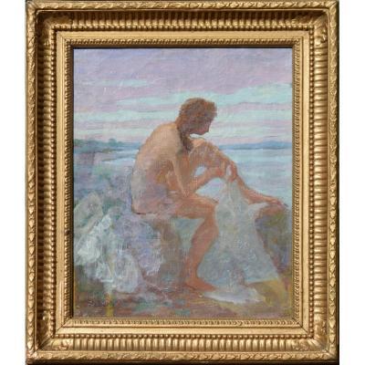 """André-félix Roberty 1877-1963. """"naiad."""" Symbolist Scene."""