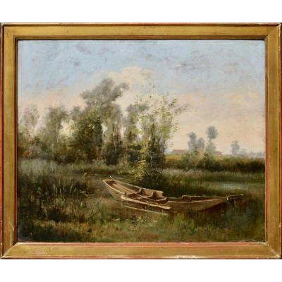 """Edmond Pointin 1836-1903. """"boat At The Edge Of A Pond."""""""