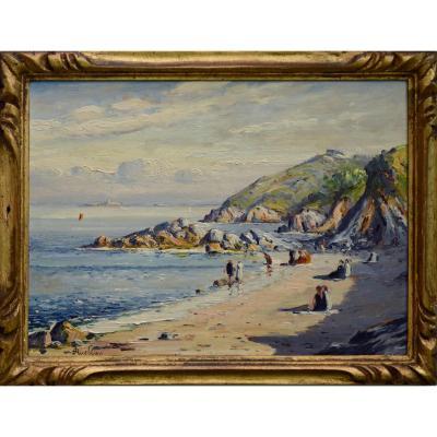 """Joseph Alexandre Ruellan 1864-1931. """"La plage de Saint-Quay-Portrieux."""""""