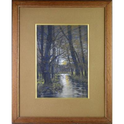 """Ivan Kowalsky 1839-1937. École Russe. """"Paysage au clair de Lune."""""""