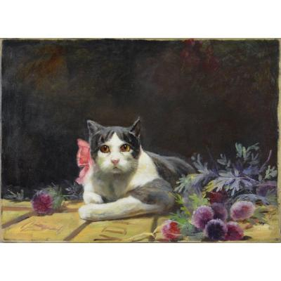 """19th Century French School. """"pink Ribbon Pussy."""""""