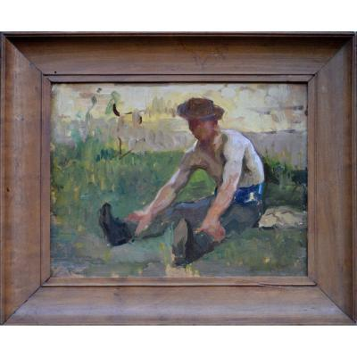 """Maximilien Luce 1853-1941. Attribué à.  """"Le repos du terrassier."""""""
