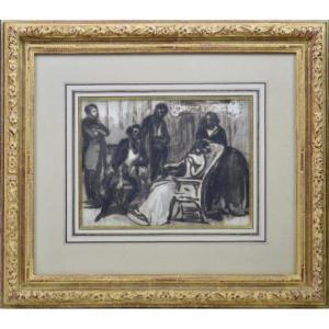 "Constantin Guys 1802-1892. ""Conversation au salon."""