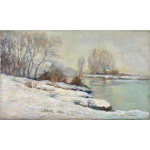 "Pierre-Antoine Marie Cluzeau 1884-1963. ""Bord de Marne, effet de neige."""