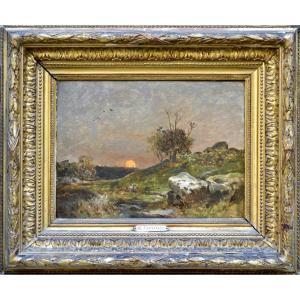 """Marie-ferdinand Jacomin 1843/48-1902. """"Coucher de Soleil, Fontainebleau."""""""