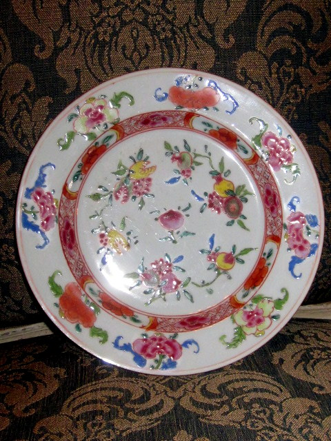 China Rare Plate Decor Polychrome 18th Century Fruit Time