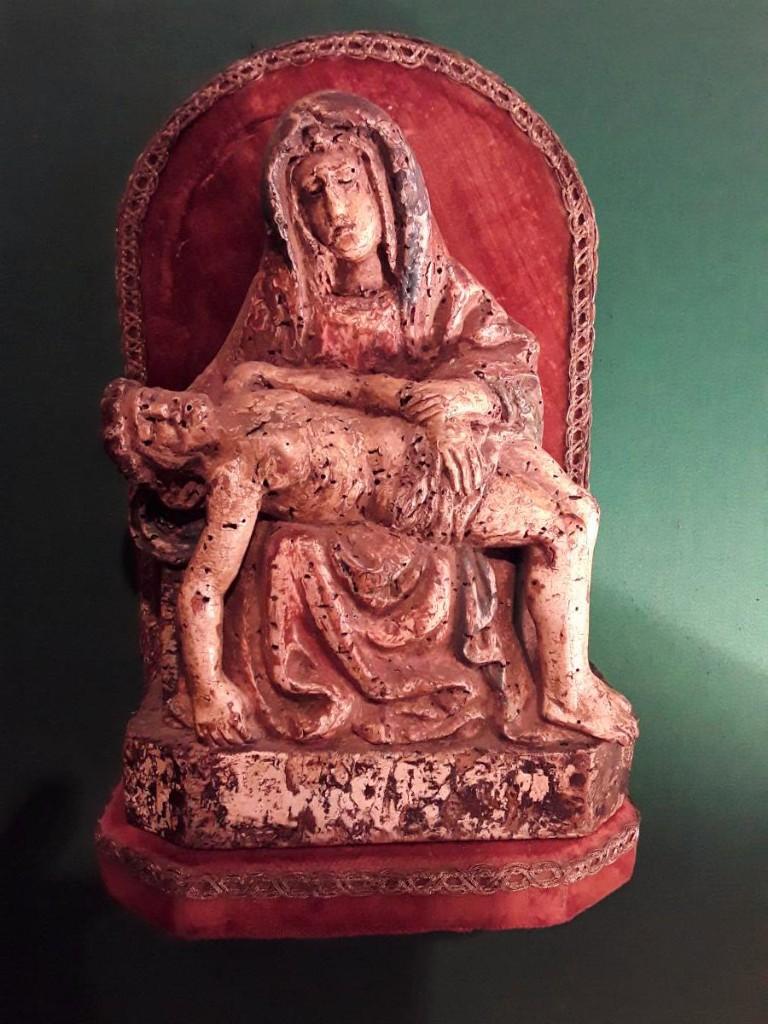 Pieta In Polychrome Wood 15th Century Era Of France?