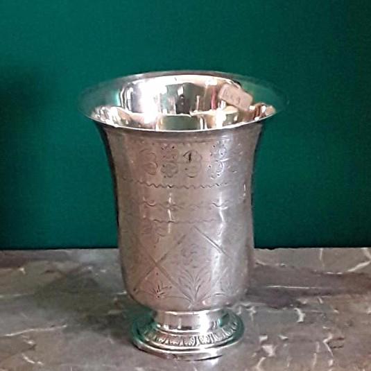 Timbale En Argent Gravée  à  piedouche  poinçon  coq 1798 -1809