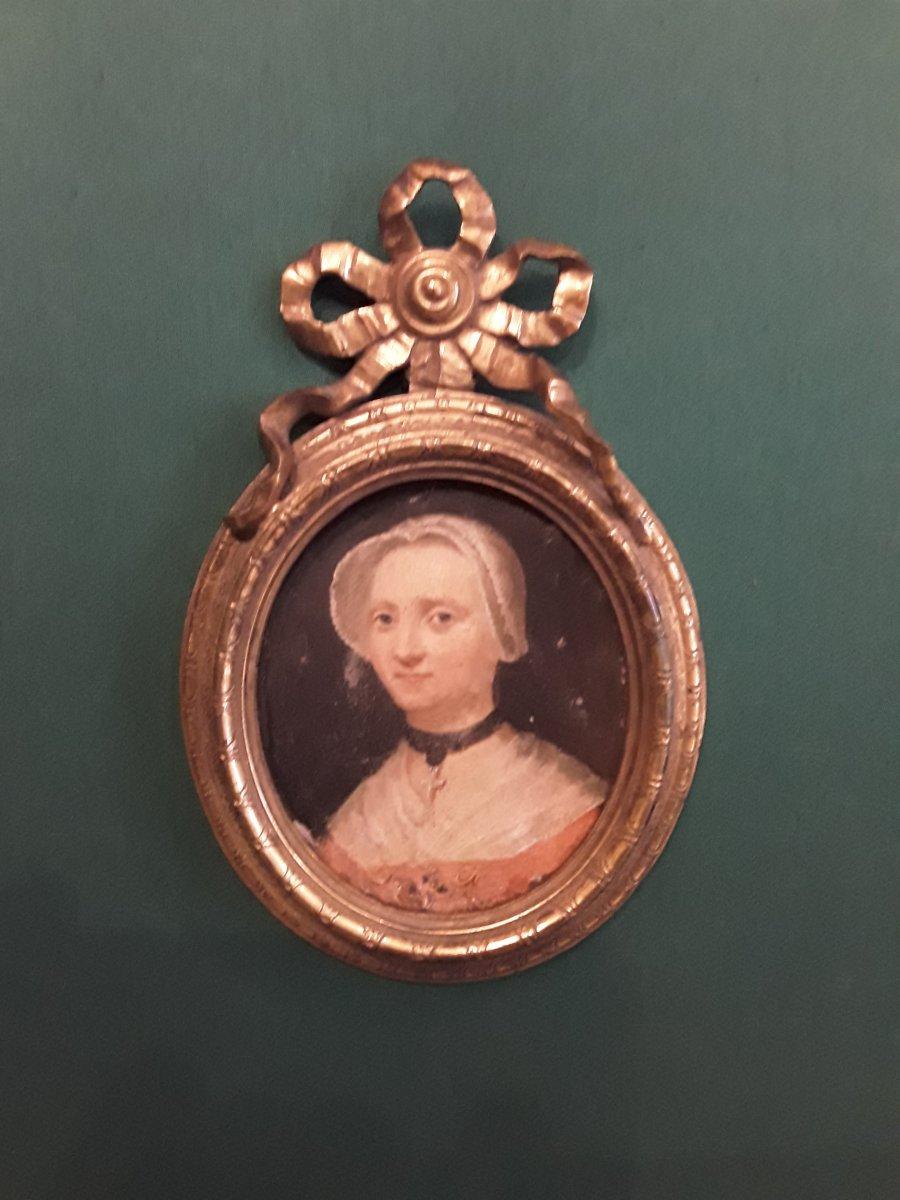 Portrait De Femme Huile Sur Cuivre ,cadre Bronze époque 18e Siècle Savoie?