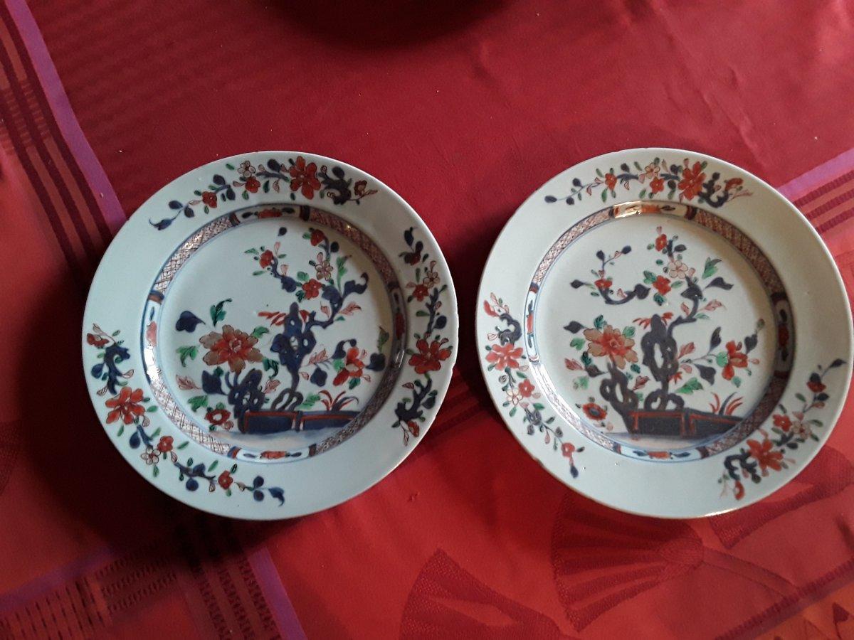 Chine Paire De Plats En Porcelaine  Pour La Compagnies Des Indes époque  18e Siècle