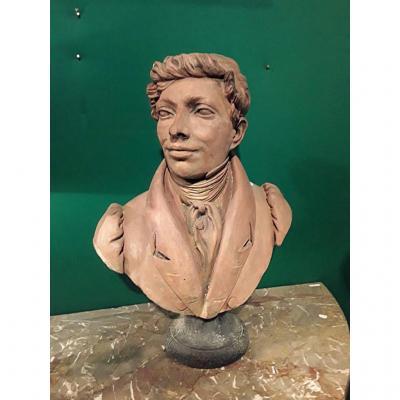 Buste En Terre Cuite Portrait d'Un Aristocrate Signé  Daté
