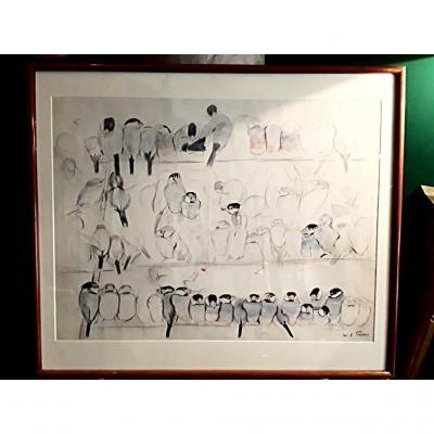 De Poret Xavier  grande planche crayon et Aquarelle oiseaux  Signée
