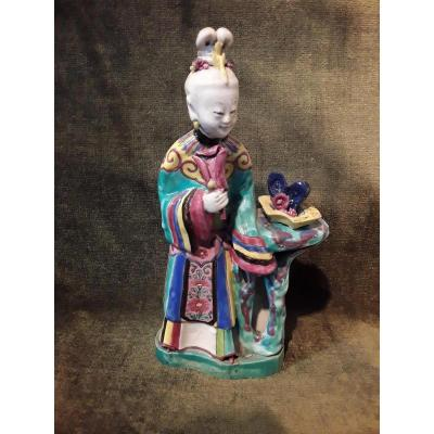 China Statuette Of 18th Century Porcelain Polychrome Court Lady