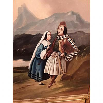Rare Trumeau Couple Of Greek In A Landscape Time 1830 1850