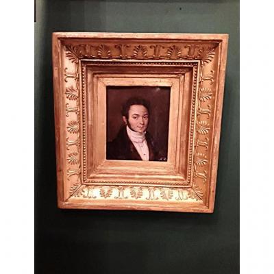 Deveria Achille Portrait Man Oil On Canvas