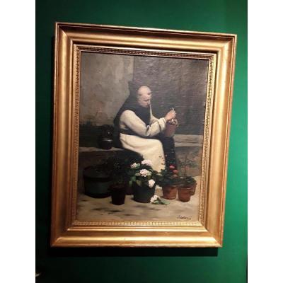 Salome Emile 1833-1881. Monk Gardener Signed