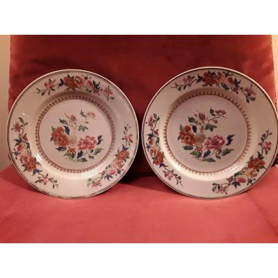 China Pair Of Plates For The East India Company Of The 18th Century Rose Family