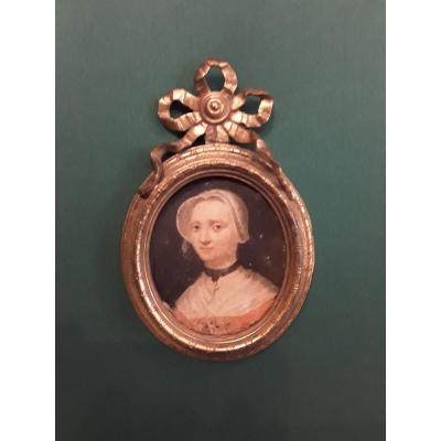 Portrrait Of Woman Oil On Copper, Bronze Frame 18th Century