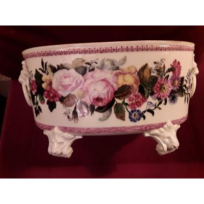 Important Planter In Paris Porcelain Decor With Polychrome Flowers And Lion Heads