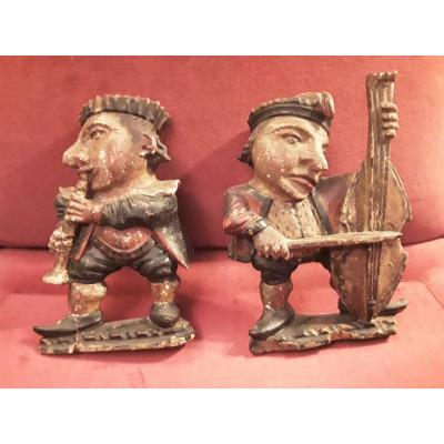 Pair Of Wooden Polychrome Statuettes Musicians Alsace Late 17th Century