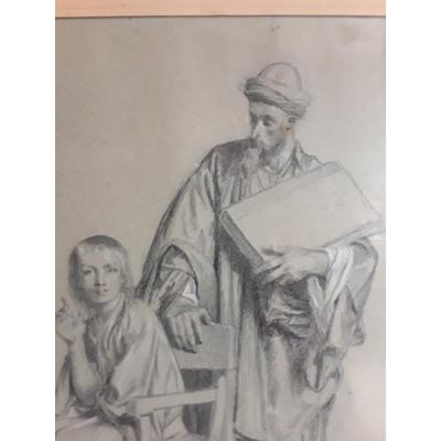 Alexandre Bida Large Drawing Signed And Annotated