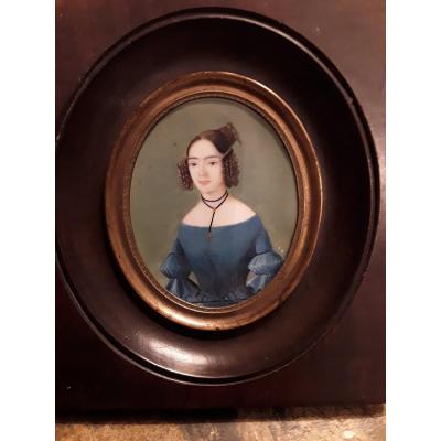 Passot Gabriel Miniature  Sur Ivoire Portrait  De Jeune Femme  1838