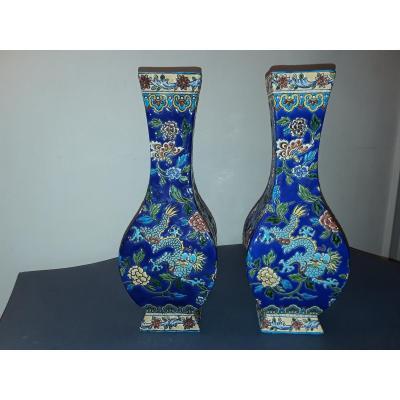 Gien Rare Paire De Vases Décor  Au Dragon Style Chinois Forme Carrée
