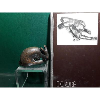 Derbré Louis Petit Lapin En Bronze époque 20e Siècle  Piece Unique