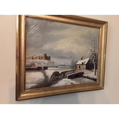 Budelot Philippe (1770-1841 ) Paysage De Neige Huile Sur Toile