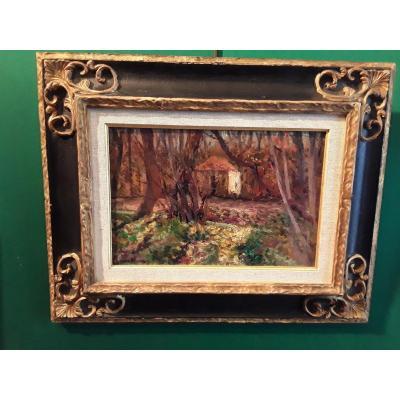 Charreton Victor Paysage Maison Dans La Forêt  Huile Sur Carton Signée