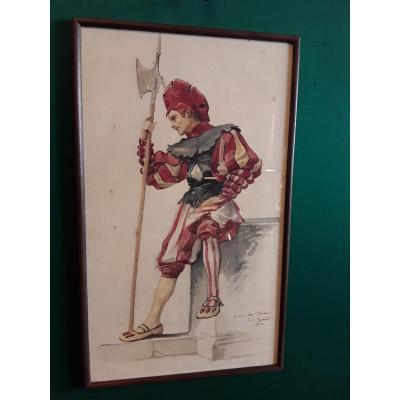 Émile Laporte Portrait d'Un  Garde Suisse Aquarelle Signée, Datée  Et Dédicacée
