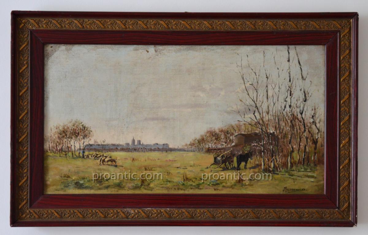 """MEISSONNIER Joseph (1864-1943) """"Moutons en pâturage"""" Avignon Provence Barthelasse Grivolas"""