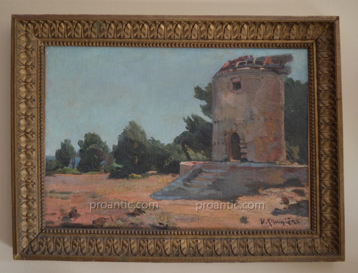 """CRUMIERE Victor (1895-1950) """" Le vieux moulin à Carry Le Rouet """" Avignon"""