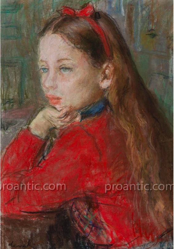 "Deval Pierre (1897 - 1993) ""girl With Red Ribbons"" Toulon Orvès"