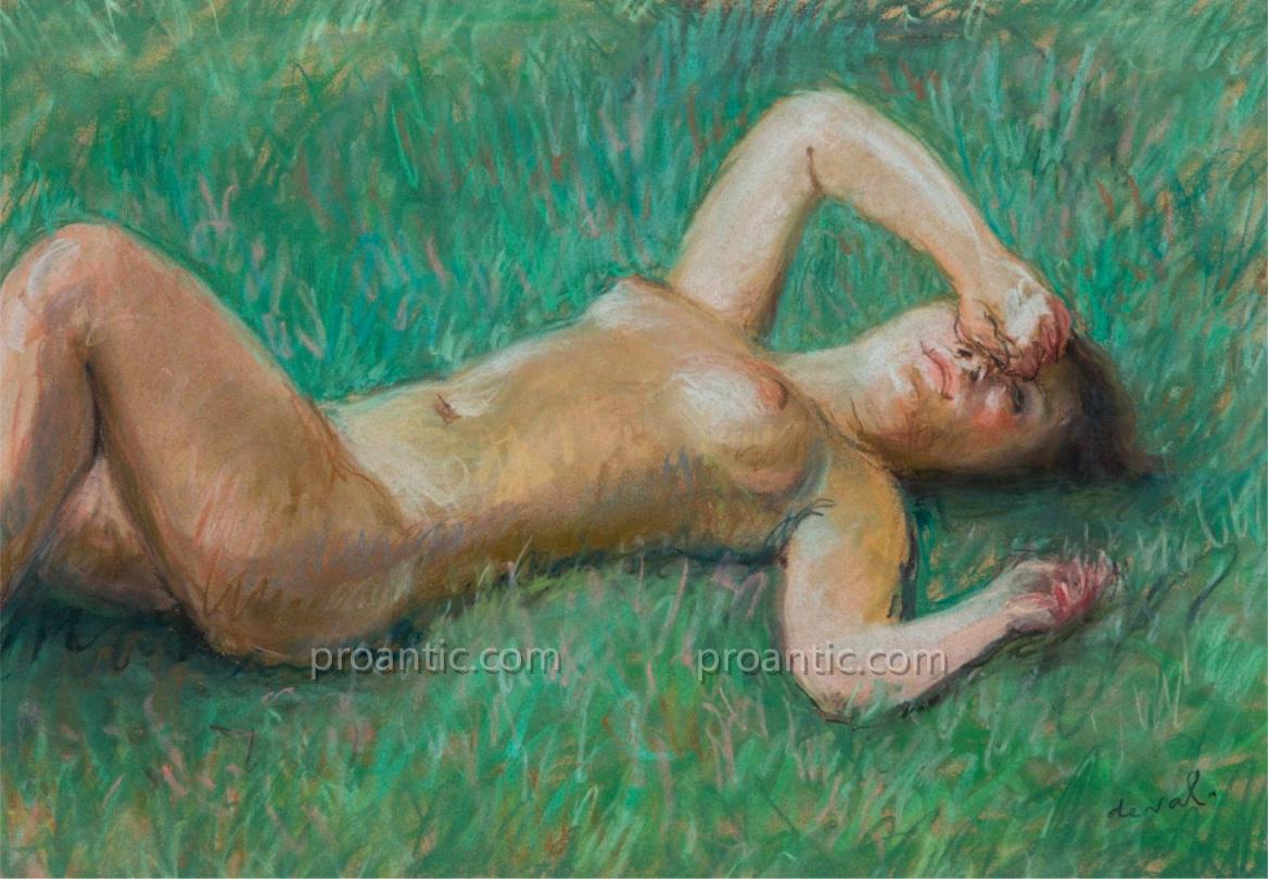 """Deval Pierre (1897 - 1993) """"nude Lying In The Sun"""" Toulon Orvès"""