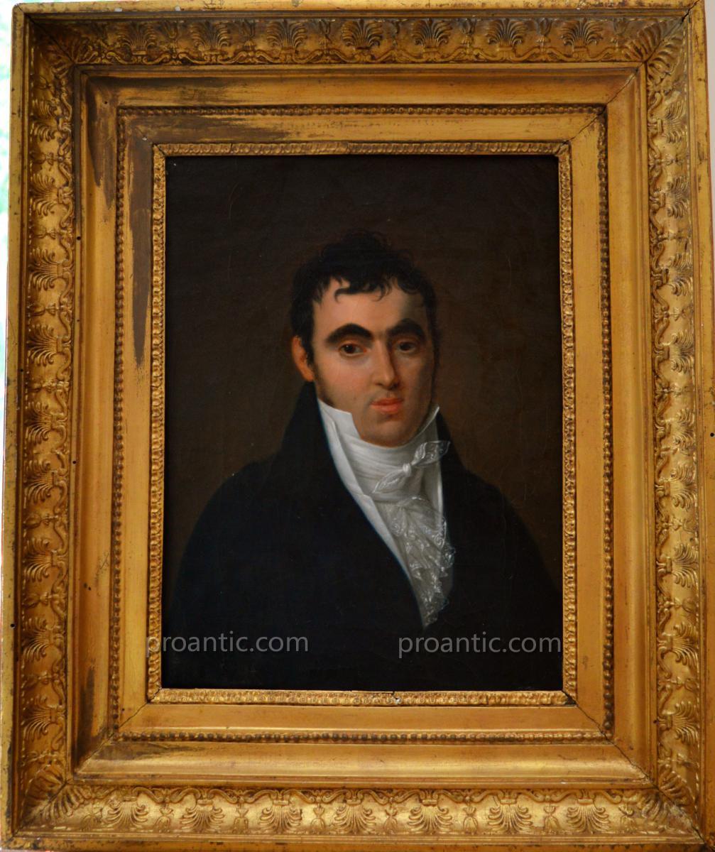 """DELAPLACE Jacques (1767-1831) """"Portrait de monsieur, 1810"""" Empire Napoleon"""