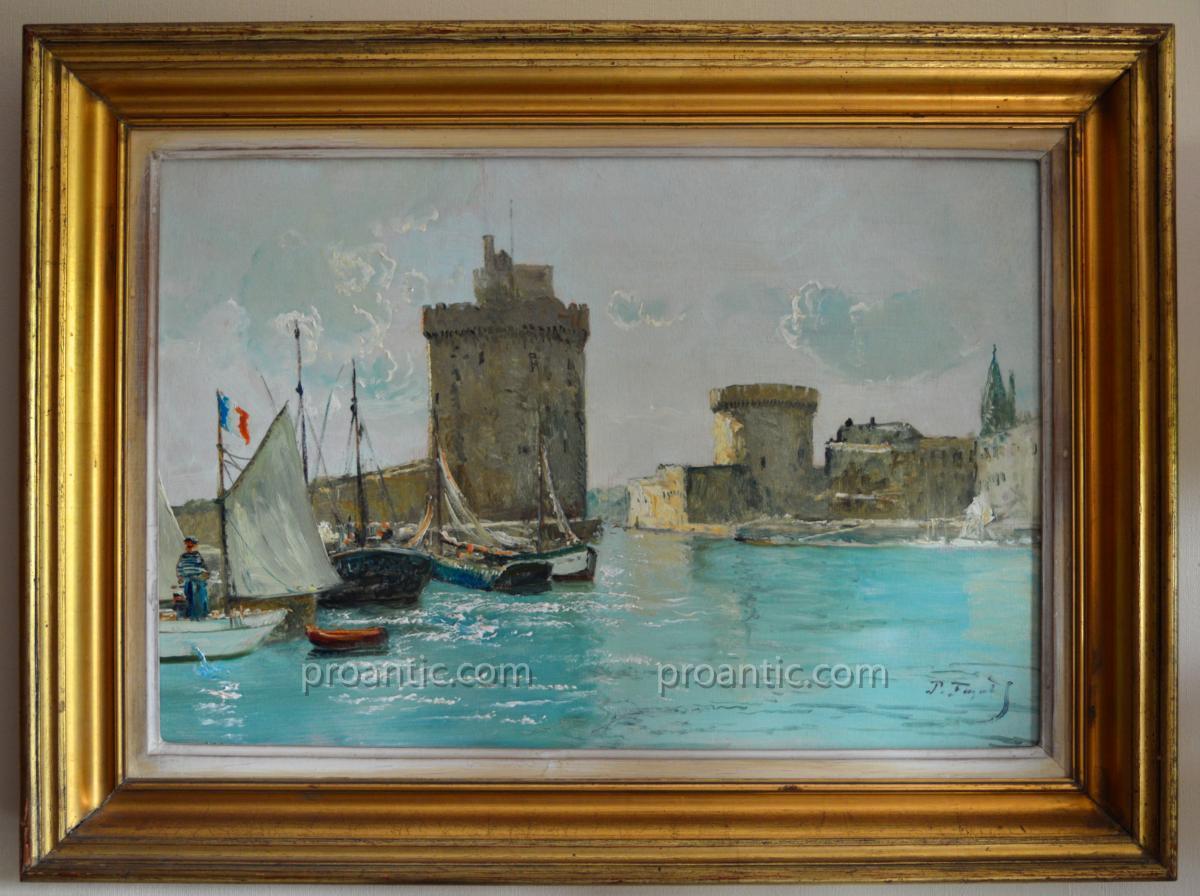 """FAGET GERMAIN Pierre (1890-1961) """" Barques de pêcheurs dans le port de La Rochelle """" Alger"""