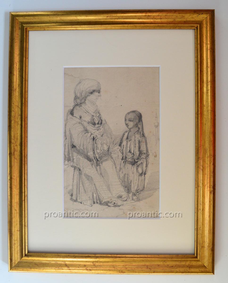 "ROUX Emile (1822-1915) "" Femme turque et son enfant "" Turquie Istanbul Bosphore"